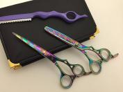 15cm Professional Barber Razor Edge Paper Coated Hair Cutting and Texturizing Shears Scissors with Straight Razor Student Teacher Kit Set+case Black