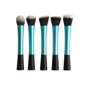 Andercala Flat Top Kabuki BrushPremium Foundation Brush, Buffing Brush, Blending Brush, Face Brush 5Pcs 5015-c3 Blue