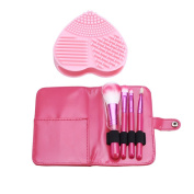 EMOCCI 4 Pcs Synthetic Makeup Brushes Set Kit with Heart Shaped Makeup Brush Cleaning Silicone Glove