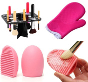 Makeup Brush Tree Tower Stand Holder and Makeup Brush Cleaner Glove and Finger Brush Cleaner Scrubber Kit