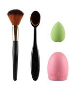 KINGLAKE® Makeup Brush Set Kits Blush Brush Toothbrush Foundation Brush with Silicone Makeup Brush Cleaner and Cosmetic Sponge Puff