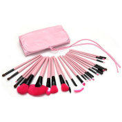Mily 24 Pcs Pink Rod Makeup Brush Cosmetic Set Kit with Case