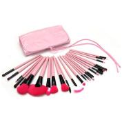 Mily 24 Pcs Pink Rod Makeup Brush Cosmetic Set Kit with Case