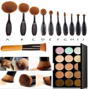15 Colours Professional Concealer Camouflage Makeup Palette Contour Face Contouring Kit + Oblique Head Contour Makeup Brush+Professional 10pcs Soft Toothbrush Oval Makeup Brush Set