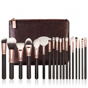 DaySeventh Fashion Popular Rose Gold Makeup Brush Complete Eye Set Tools Powder Blending Brush18 pcs with Cosmetic Bag