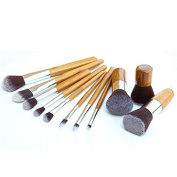 Professional Makeup Brush Set with Premium Synthetic Hair and Natural Bamboo handles for Face, Cheeks and Eyes-11pcs.