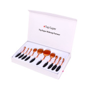 Makeup Brushes, Top Super 10Pcs Pro Oval Makeup Brush set Cosmetic Foundation Liquid Cream Powder Blush Pigment Tool,Gift Package