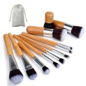 Gospire 11 pcs Bamboo Handle Makeup Brush Set Vintage Makeup Set Soft Set of Pro Foundation Kit with Gunny Bag