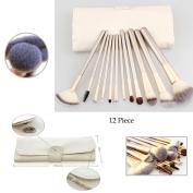 Vander 12 Pcs Champagne Travel Size Cosmetic Brush With Bag Foundation Eyeliner Lip Blending Makeup Brushes Set