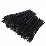 100 Pcs Disposable Eyelash Eye Lash Mascara Makeup Brush Make Up Wand Cosmetic Applicator Tools - Black