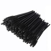 100 Pcs Disposable Eyelash Eye Lash Mascara Makeup Brush Make Up Wand Cosmetic Applicator Tools - Black