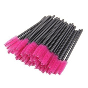 100 Pcs Disposable Eyelash Eye Lash Mascara Makeup Brush Make Up Wand Cosmetic Applicator Tools - Hot Pink