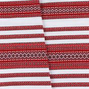 "Decorative fabric with Ukrainian ornament Christmas Tamlecloth plahta ethnic white red black 300x150 cm / 118""x59"""