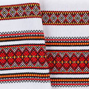 "Decorative fabric with Ukrainian ornament Christmas Tamlecloth plahta ethnic red black yellow 200x150 cm / 79""x59"""