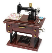 MAYMII Vintage Mini Sewing Machine Style Plastic Music Box Table Desk Decoration Toy Gift for Kid Children