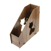 Clobeau DIY Wooden Hollow Cats Creative Desktop File Storage Box Document Books Magazine Holder Sorter Office Home Desk Hanger Tidy Dispay Bin File Folder Dividers Cabinet File Basket Shelf Organiser