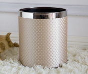 European - Style Double - Decker Trash Living Room Fashion Creative Trash Cans Stainless Steel Kitchen