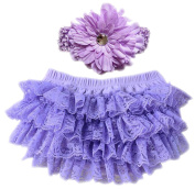 October Elf Baby Girl's Briefs Lace Ruffle Bloomer and Headband Nappy Cover