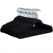 Premium Quality Space Saving Velvet Hangers with Chrome Hooks by Zober - Non Slip Suit Hangers in Black - 50 pack