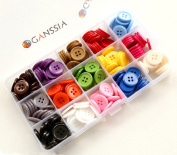 """GANSSIA 0.70"""" (18mm) Sewing Flatback Buttons 15 Colours Multi Pack of 225 Pcs with Box"""