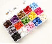 "GANSSIA 0.59"" (15mm) Sewing Flatback Buttons 15 Colours Multi Pack of 300 Pcs with Box"