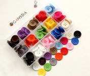 "GANSSIA 0.78"" (20mm) Sewing Flatback Buttons 15 Colours Multi Pack of 150 Pcs with Box"