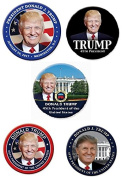 Donald Trump Elected President Set of 5 Different VICTORY Colourful Election & Inauguration Buttons