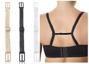 Coco's Women's Bra Strap Holder 3pc, Premium Quality Non-slip Elastic Strap/Holder, Black, White, Skin PLUS 1 Bonus Bra Clip