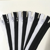 WKXFJJWZC 50pcs Black & White Nylon Coil Zippers Tailor Sewer Craft Crafter's & FGDQRS