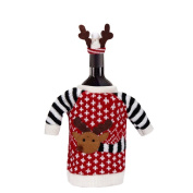 Ikevan Hot Selling Christmas Elk Wool Clothes Hat Red Wine Bottle Cover Bags Home Party Decoration