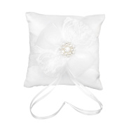 ULTNICE Satin Ring Bearer Pillow with Ribbon Lace Flower for Wedding Banquet Party,White