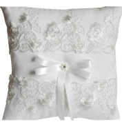 White Wedding Ring Pillow in Embroider Lace Ring Cushion Set