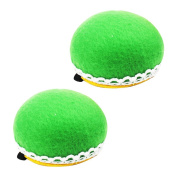 LEFV™ Pin Cushion Lace Wrist Wearable Needle Pincushions for Needlework, Pack of 2, Green