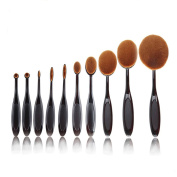 Makeup Brushes Oval, SQdeal 10pcs/set Soft Oval Foundation Toothbrush Makeup Brushes for Eyebrow Powder Blush Eyeliner Lip Concealer