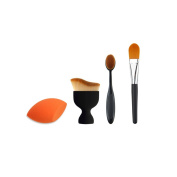 Professional Ultimate Contour Sculpting Brush+Makeup Sponge Blender +Soft Oval Foundation Toothbrush Makeup Brush+Foundation Powder Brush