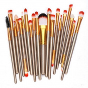 Kwok 20 pcs Make-up Toiletry Kit Wool Make Up Brush Set Tools