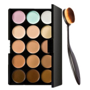 Kwok 15 Colours Concealer+Cosmetic Makeup Blusher Toothbrush Curve Foundation Brush