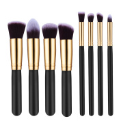ElleSye 8-Piece Soft Synthetic Makeup Brush Set with Sponge and Braided Bag, Golden