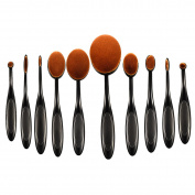 ElleSye Makeup Brushes, Professional 10-in-1 Soft Oval Makeup Brush Set Foundation Brush Concealer Brush Cosmetic Brush with Toothbrush Design for face and eyes - Rose Gold