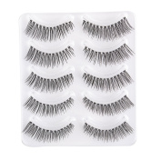 Rosette 5Pairs/set Long Natural Black False Eye Lashes 3D curved shape Fake Eyelashes For Makeup Beautify Eyes