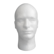Lookatool Male Styrofoam Mannequin Manikin Head Model Foam Wig Hair Glasses Display