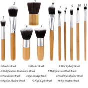 Nestling 11 Pieces Makeup Brush Set Professional Bamboo Handle Premium Synthetic Kabuki Foundation Blending Blush Concealer Eye Face Liquid Powder Cream Cosmetics Brushes Kit With Bag