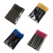 FlyItem 200 Lots 4 Colours Disposable Eyelash Extension Brush Mascara Wands Applicator Womens Cosmetic Makeup Tool