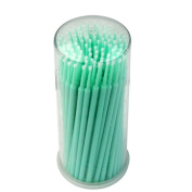 Yimart 100pcs Green Fine Size 2mm Disposable Mascara Applicator Eyelash Extension Micro Brushes