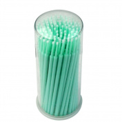 Yimart 100pcs Green Fine Size 2mm Disposable Mascara Applicator Eyelash Extension Micro Brushes