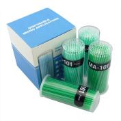 Yimart 400pcs Green Fine Size 2mm Disposable Mascara Applicator Eyelash Extension Micro Brushes