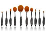 Lmeison premium 10pcs Soft Oval Makeup Brushes Set Cosmetic Toothbrush Curve Foundation Cream Powder Blusher Makeup brush Tool