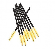 BeautyMall 50 Pcs Disposable Eyelash Mascara Brushes Wands Yellow