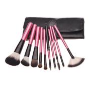 DH Black Bag Rose Red Handle Lip Mascara Makeup Brush 10pcs