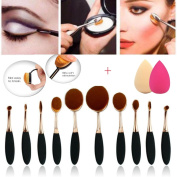 10 Pcs Oval Makeup Brush Sets Soft Oval Toothbrush Makeup Brush Cream Contour Powder Blush Liquid Foundation Cosmetics Tool Set for Face+2pcs Waterdrop Shape Latex Powder Puffs Rose Red & Skin Colour